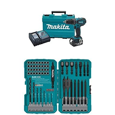 Makita XPH012 18V Lithium-Ion Cordless Hammer Driver-Drill Kit with T-01725 70-Piece Bit Set Bundle