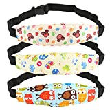 Kesoto Infants and Baby Head Support Band, Car Seat Neck Relief Head Strap, Toddler Car Seat Adjustable Sleep Positioner - Pack of 3