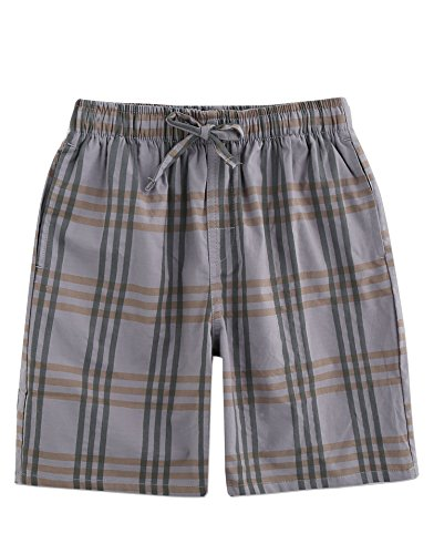 TINFL Boys Plaid Check Soft 100% Cotton Lounge Shorts BSP-04-Lightgrey-YL by TINFL