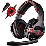 SADES SA903 Gaming Headset 7.1 Surround Sound USB PC Computer Stereo Game Headphones with Microphone LED Light(Blackred)
