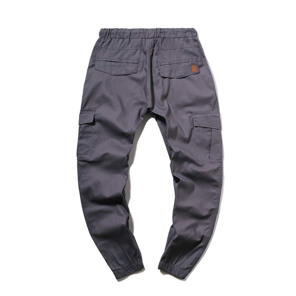 Vicbovo Clearance Jogger Cargo Pants Mens Casual Trouser Outdoor Working Pants Combat Slim Fit Elastic Basic Trousers