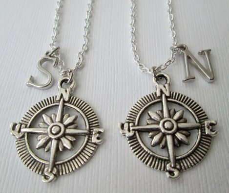 (2 Compass Initial, Best Friend Necklaces.)