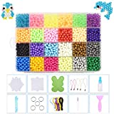 INTVN Fuse Beads Kit, Water Fuse Beads Refill Water Spray Beads Magic Sticky Beads DIY Art Crafts Educational Toys with Tools for Kids 24 Colors