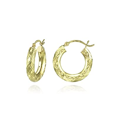 14k Yellow Gold 3mm Thick Diamond Cut Hinged Snapback Hoop Earrings