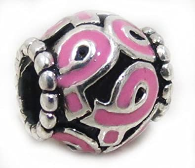 "5e32cb2d0 Authentic EvesErose Highest Quality ""Pink Ribbon Breast Cancer  Awareness"" Charm Bead Fits Authentic"