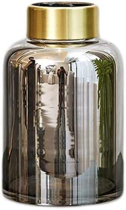 ZHING Jarrón Transparente para Flores Hecho a Mano Artesanal Plata Vidrio Oro Cuello de Botella Estudio Dormitorio decoración (Size : 20 * 12cm): Amazon.es: Hogar