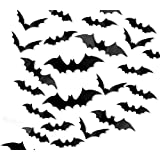 120PCS/4SIZE 3D Bats Sticker Halloween Party Supplies Reusable Decorative Scary Wall Decal for Home Window Clings…