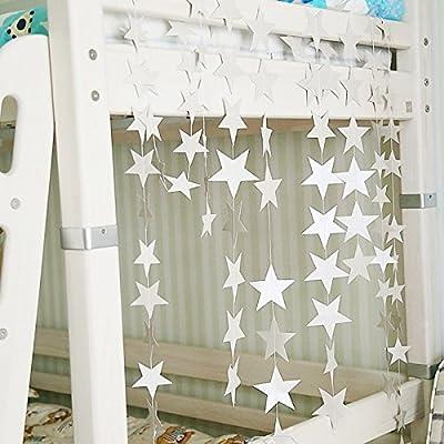 Your supermart 4MCardboard Stars Hanging Ornaments Christmas Tree Garland Decor Silver