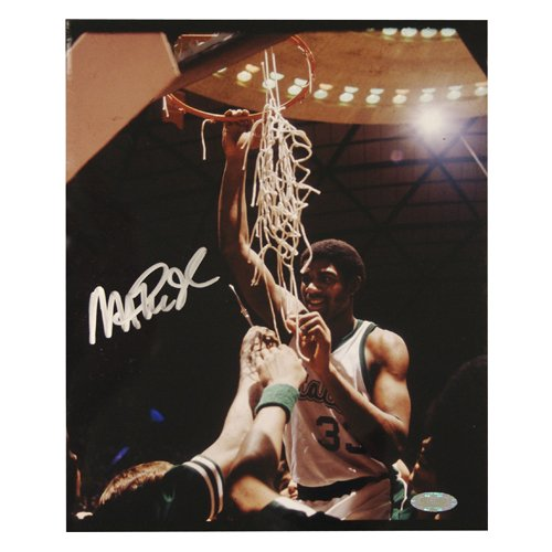 Steiner Sports NBA Magic Johnson Michigan State Cutting the Net Vertical Autographed 8-by-10-Inch Photograph