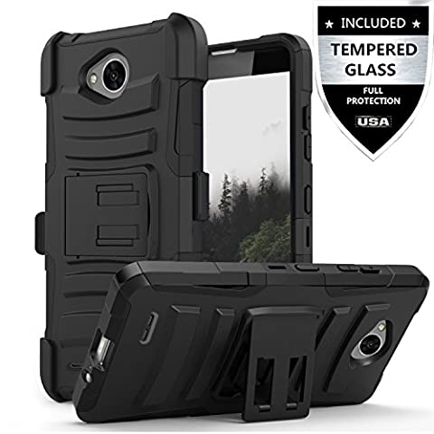 LG Fiesta Case, LG X Power 2 Case,LG X Charge Case With Tempered Glass Screen Protector,IDEA LINE(TM)Heavy Duty Armor Shock Proof Dual Layer Holster Locking Belt Swivel Clip with Kick Stand - (Phone Case Charges)