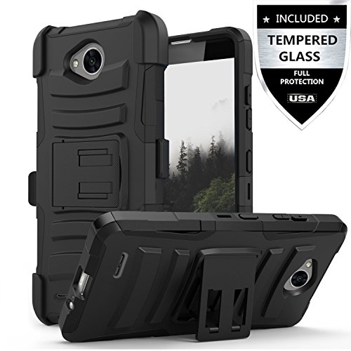 LG Fiesta Case / LG Fiesta 2 Case / LG X Charge Case / LG X Power 2 Case With Tempered Glass Screen Protector,IDEA LINE Heavy Duty Armor Shock Proof Combo Holster Kickstand Belt Clip – Black
