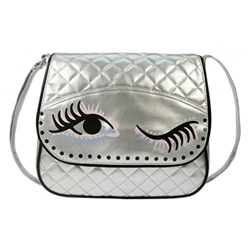 Schultertasche, BFF, Got my eye on you, silber, 420-7102