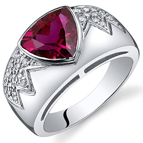 Created Ruby Museum Ring Sterling Silver Rhodium Nickel Finish Trillion Cut 2.50 Carats Size 5