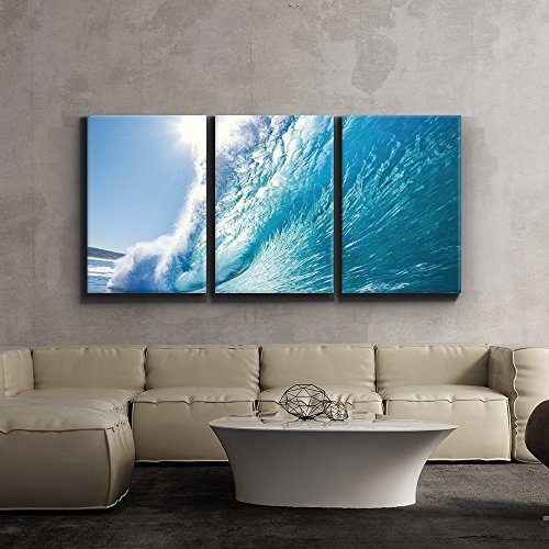Print Contemporary Art Wall Decor Ocean wave Surf barrel Giclee Artwork Gallery ped Wood Stretcher Bars x3 Panels