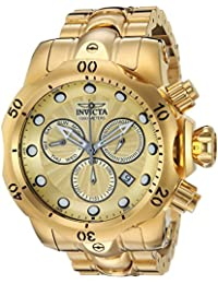 Mens Venom Quartz Watch with Stainless-Steel Strap, Gold, 26 (Model: