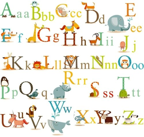 - Classic Animals Alphabet Baby Nursery Peel & Stick Wall Art Sticker Decals
