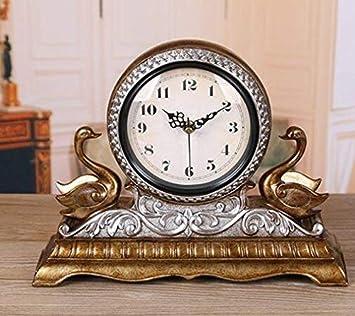 Mieoson Reloj de Pared de Estilo Europeo La Sala de Estar de la Cama Reloj Reloj Continental Elegante de sobremesa Jong-Personalidad Sentado Jong-Mute ...