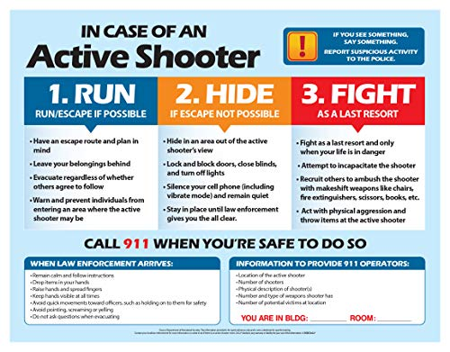 Active Shooter (Run, Hide, Fight) Safety Poster - Active Shooter Instructions - What to do if There is an Active Shooter - Classroom Safety, Workplace Safety Poster - 17 x 22 in, Laminated