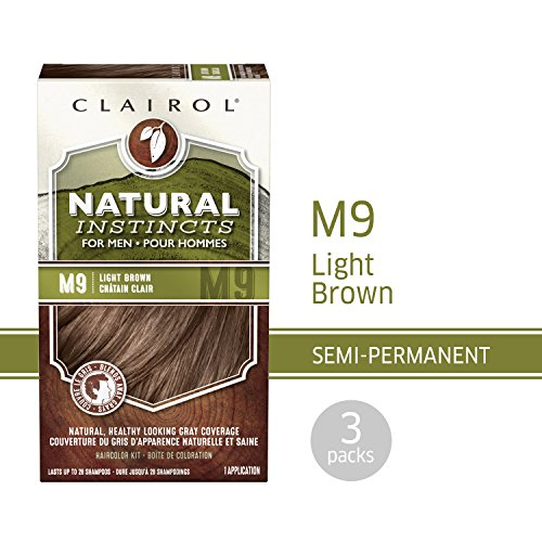 Clairol Natural Instincts Semi-Permanent Hair Color Kit For Men, 3 Pack, M9 Light Brown Color, Ammonia Free, Long Lasting for 28 Shampoos by Clairol (Image #11)