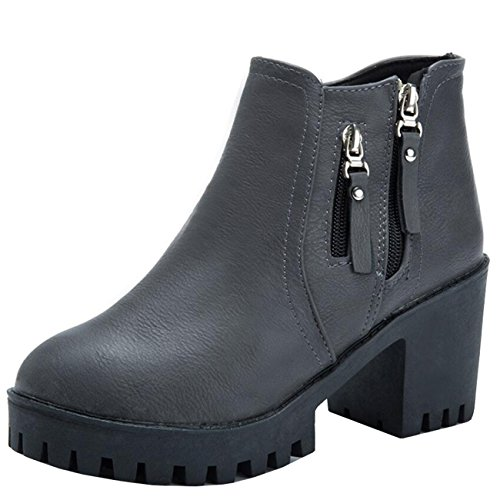 Mashiaoyi Women's Round-Toe Platform Block Heel Zip Chukka Boots Grey A0d75h