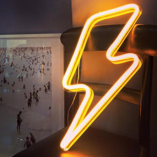Lightning Bolt Neon Sign Remote Control LED Neon Signs Large Size Handmade Beer Neon Light Sign for Home Wall Decor Room (Yellow)