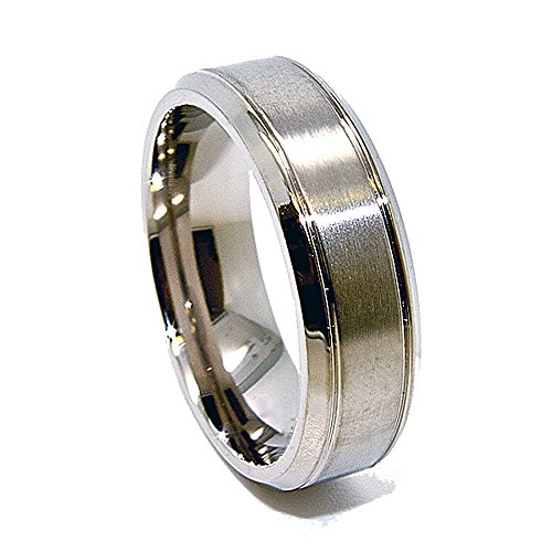 Unique 7mm Titanium Ring with Brushed Satin Middle Wedding Band (Available in Sizes 4-15)
