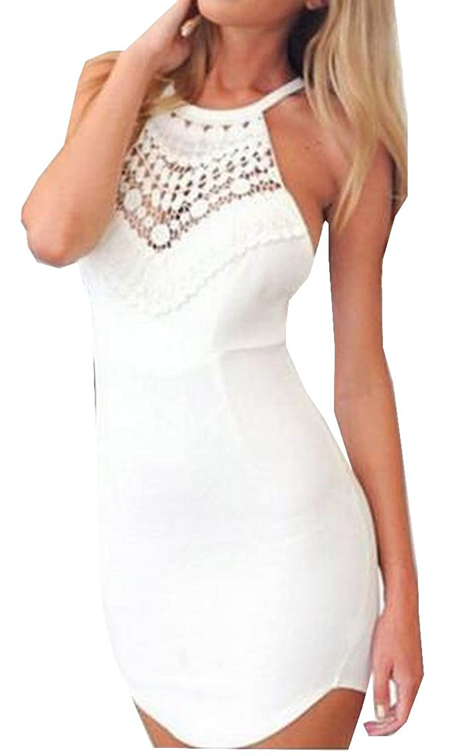 Comfy Womens Sleeveless Solid Backless Harness Dress
