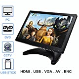 TOGUARD 10.1'' Inch Portable Monitor HD 1280x800 SUMSUNG IPS 16:10 Color Display Screen with USB VGA HDMI AV BNC Input Earphone Speaker Output for TV PC Respberry Pi CCTV Security Camera
