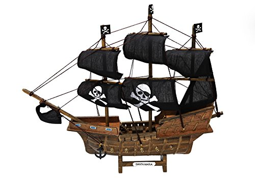 Costumes Orlando Rental (Pirate Ship Detailed Wooden Model Nautical Pirate Boat Decor Decorative Wood and Canvas)