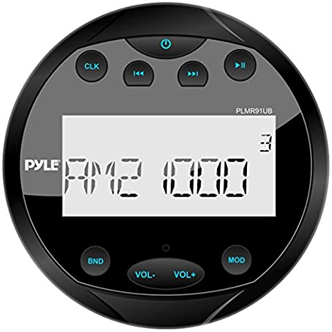 Pyle PLMR91UB Hydra Waterproof Bluetooth Marine Digital Receiver Stereo Radio USB/MP3/AM/FM/AUX Input, (Waterproof Stereo Bluetooth)