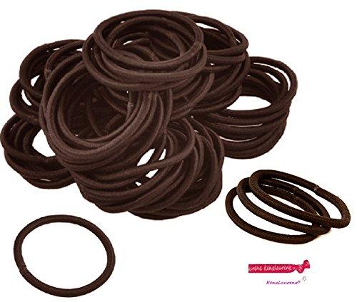 Kenz Laurenz 100 Hair Elastics Hair Ties No Crease Ouchless Ponytail Holders No Metal 4mm (100 Hair Elastics--Brown)