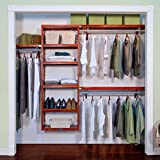 walk in closet systems John Louis Home 12-Inch Deep Premier Closet Organizer-Red Mahogany Finish