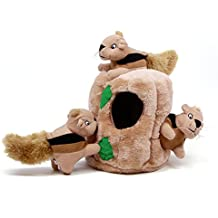 Outward Hound Hide a Squirrel Fun Hide and Seek Interactive Puzzle Plush Dog Toy by, 4 Piece, Junior