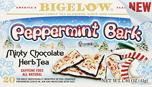 Bigelow Peppermint Bark 20 Bags (Pack of 6), Caffeine-Free Bagged Herbal Tea in Individually Wrapped Foil Packets, Peppermint and Chocolate Tea, Perfect Winter Brew