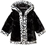 Pistachio Little Girls' Toddler Faux Fur Swing Coat, Black, 3T