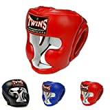 Twins Special Headgear Head Guard HGL-3 Color Black Blue Red Size S, M, L, XL for Protection in Muay Thai, Boxing, Kickboxing, MMA (Red,S)