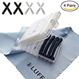 LUFF 4 Pairs Eyeglass Temple Tips Sleeves Retainer, Soft Silicone Anti-Slip Holder for Eyewear, Elastic Comfort Sunglasses Reading Glasses Ear Pads/Hook (4 Pairs)