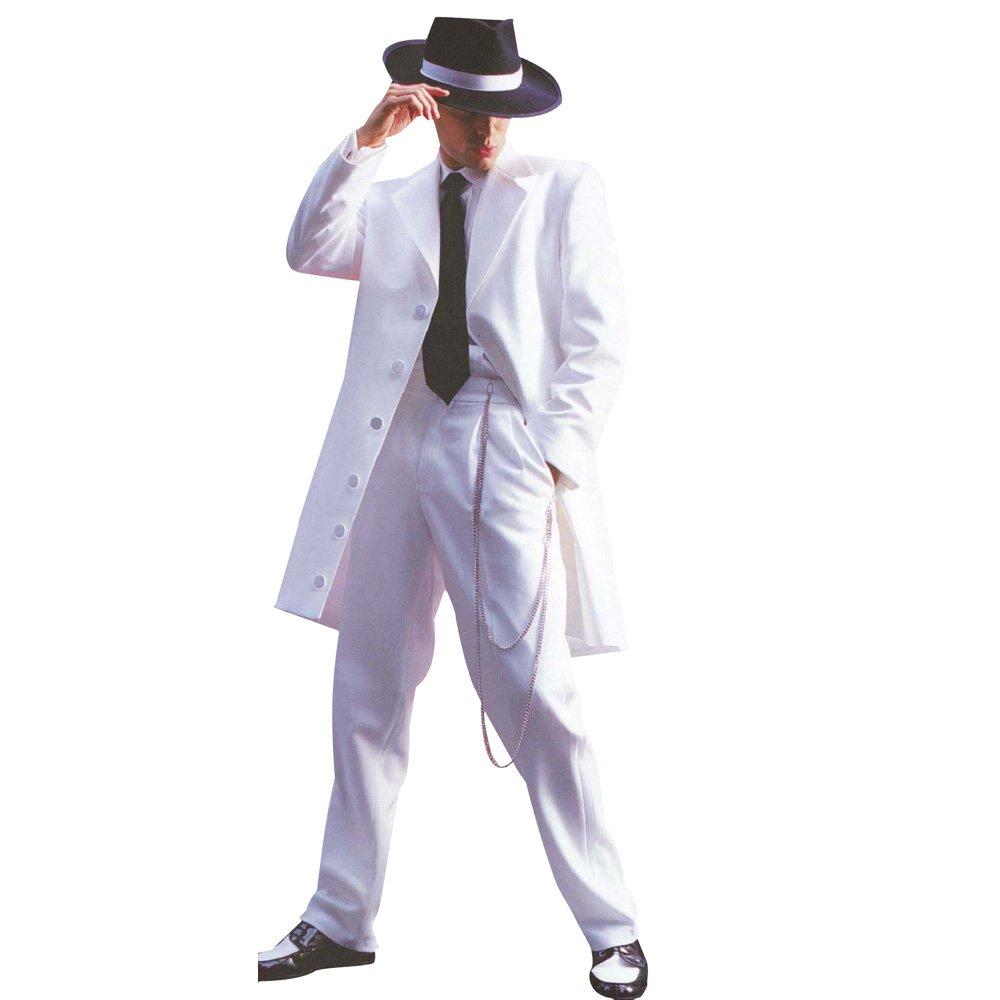 HBDesign Mens 2 Piece 7 Button Peak Lapel Slim Fit Long Pattern Suits White 52R