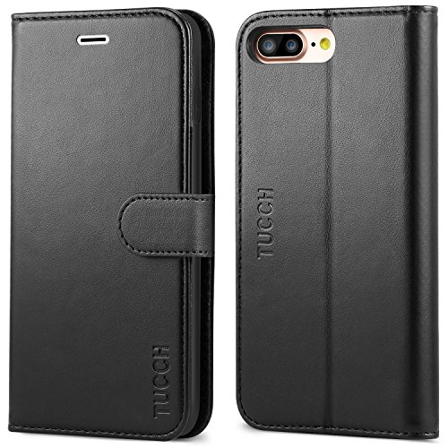 iPhone 8 Plus Wallet Case, iPhone 7 Plus Case, TUCCH Premium PU Leather Flip Folio Case with Card Slot, Cash Clip, Stand Holder and Magnetic Closure [TPU Shockproof Interior Protective Case], Black by TUCCH (Image #9)