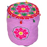 Indian Round Purple Ottoman Cotton Floral Embroidered Pouf Cover For By Rajrang
