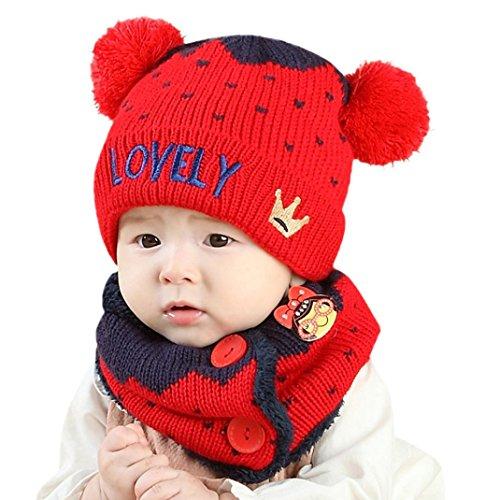 b2882bfe4 Sombrero de bebé Bufanda para niños Chicos Chicas Carta corona Tejido de  punto Calentar Sombreros Gorra
