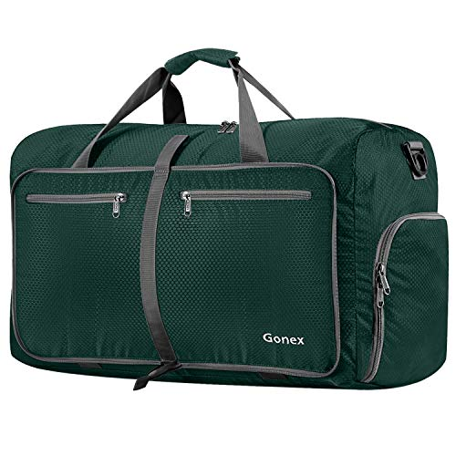 Gonex 80L Foldable Travel Duffle Bag for Luggage, Gym, Sport, Camping, Storage, Shopping Water Repellent & Tear Resistant Blackish Green