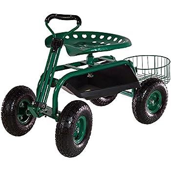 Sunnydaze Green Rolling Garden Cart With Extendable Steering Handle, Swivel  Seat U0026 Planter Basket