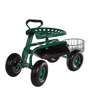 Sunnydaze Green Rolling Garden Cart with Extendable Steering Handle, Swivel Seat & Planter Basket