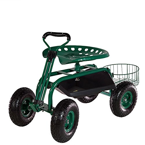 Sunnydaze Green Rolling Garden Cart with Extendable Steer...