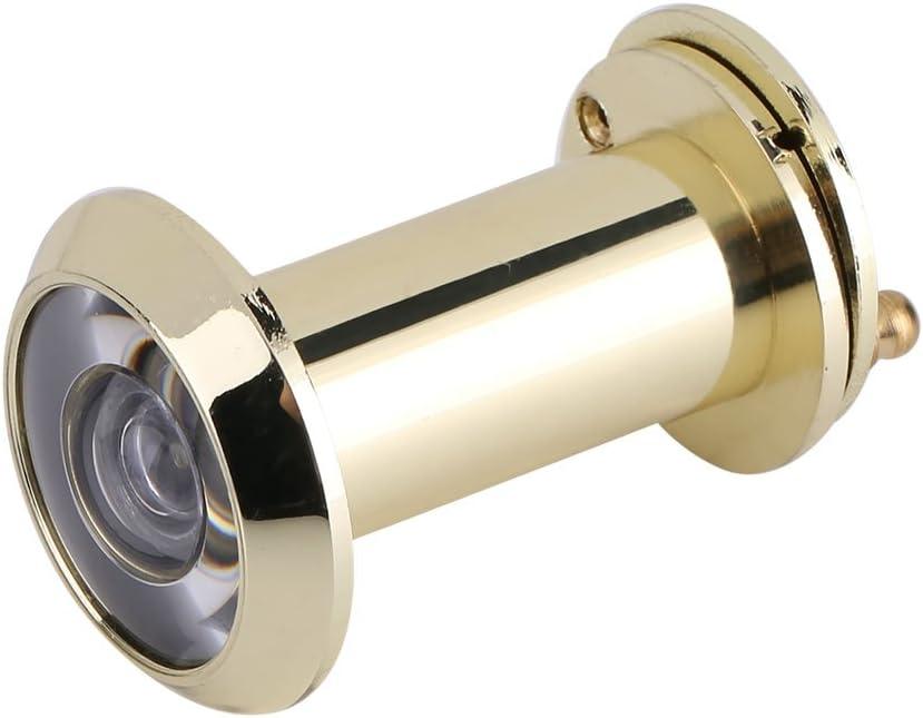 Mirilla para Puertas, Visor de puertas, mirilla de seguridad, mirilla, mirilla, vidrio óptico, 200 grados, gran angular, con cubierta de privacidad(Gold)