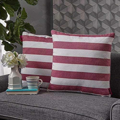 Miriam Red and White Striped Fabric Throw Pillow (Set of 2) [並行輸入品] B07R82LN38