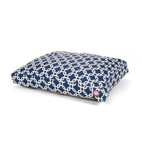 Navy Blue Links Medium Rectangle Indoor Outdoor Pet Dog Bed