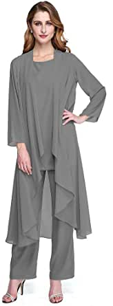 TS Pantsuit Scoop Neck Ankle Length Chiffon Mother of Bride Dress with Pleats Wrap, Charcoat Gray, US 10