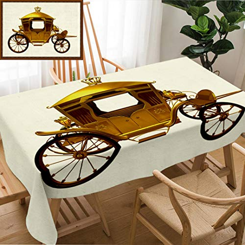 Skocici Unique Custom Design Cotton and Linen Blend Tablecloth Golden Carriage Side ViewTablecovers for Rectangle Tables, 70